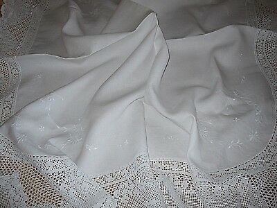 Gorgeous Antique White Embroidered Linen Tablecloth With Hand Crochet Lace