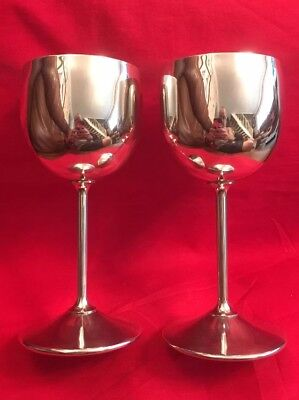 Pair Of Vintage Silver Plated Wine Goblets By Viking Plate