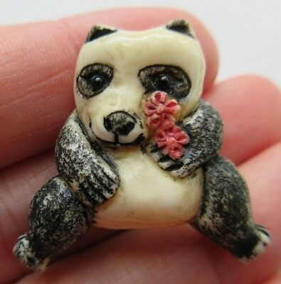 Darling LARGE Antique~ Vtg Carved & Painted BUTTON Panda Bear GLASS Eyes (Y27)