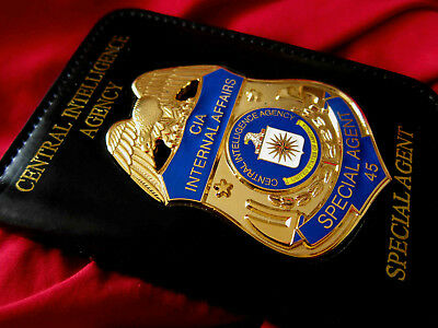 gl/ Historisches badge + CIA Internal Affairs + Leather wallet / golden Letter