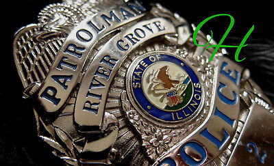 gl/  Historisches police badge + Patrolman River Grove Police, Illinois