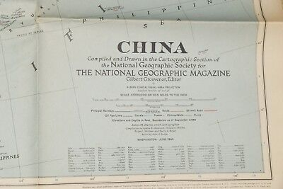 Vintage National Geographic Map - China (1945)