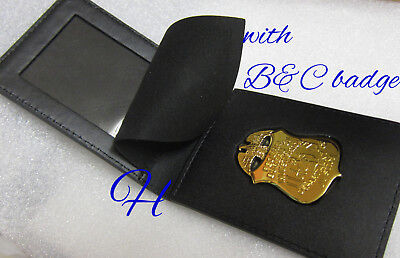 gl/ Historisches badge + FBI  Leather Flip Wallet with  badge made B&C