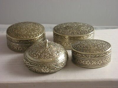 4 Unusual Egypt Silver 925 grade Lidded jars 132 grams fine condition