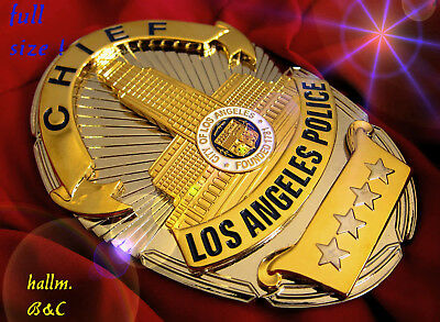 gl/ Historisches police badge + Chief Los Angel. Police, L.A.P.D. - hallm: B&C