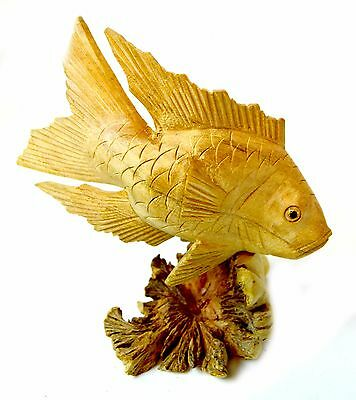 Handmade GOLD KOI FISH PARASITE WOOD BALI CHINABERRY CARVING FIGURINE MUSHROOM