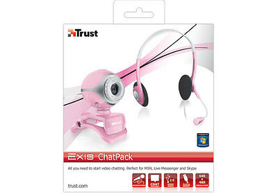 Bargain! New Trust Exis Pink Chatpack, Webcam And Headset + Mic, Sale Now On!