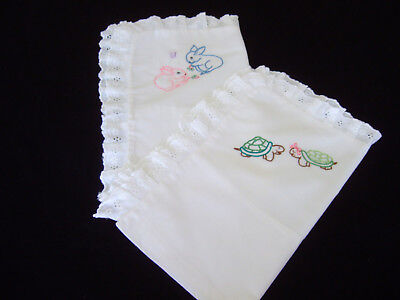 TWO White Cotton Hand Embroidered Baby Pillowcases with Broderie Anglaise Border