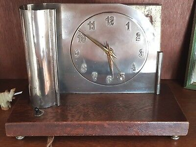 Clock Art Deco Desk With Lamp Oak Base Chrome Dial 1930s Fully Working