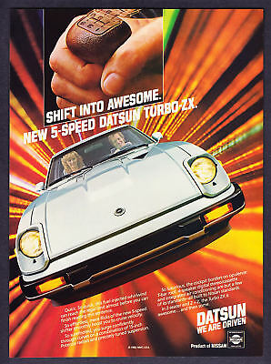 "1983 Datsun Turbo ZX Coupe photo ""Shift Into Awesome"" vintage print ad"