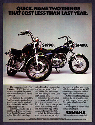 """1980 Yamaha XS650 & XS400 Special II Motorcycle photo """"Cost Less"""" promo print ad"""