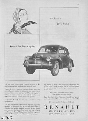1950 Renault Rear Engine American Special Print Ad