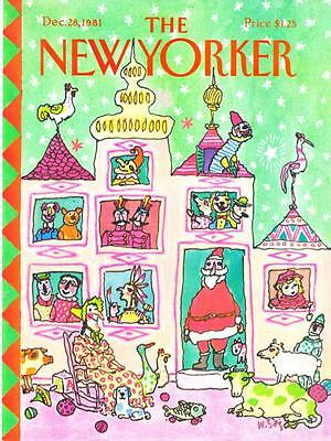 1981 William Steig Christmas Santa Claus House art New Yorker Cover ONLY