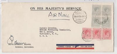 BAHAMAS 1942 OHMS AIR COVER (NO CENSOR) FROM DEV. BOARD SIGNED 1sh   (SEE BELOW)