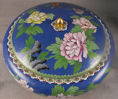 """Large Cloisonne Covered Bowl 16"""""""