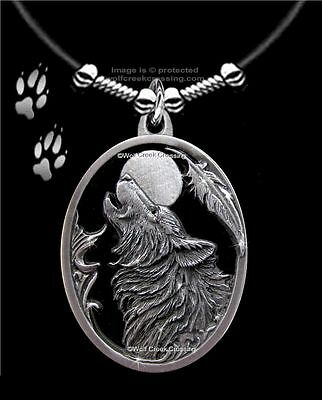 "Moon Song Howling Wolf Necklace Diamond Cut Wolves Eagle Feather Free Ship 24""l"