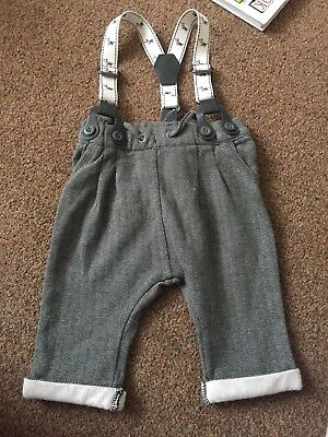 Brand New. No Tag. Boys. Next. Soft Trousers With Braces. Up To 3 Months. Vgc