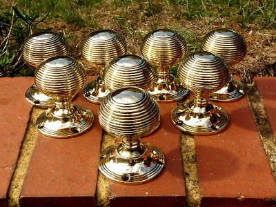 Eight (8) Superb Heavy Brass  Vintage Door Knobs