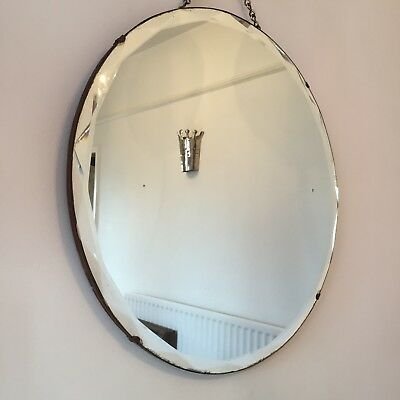 Art Deco Vintage Wall Mirror Bevelled Round Chain Antique