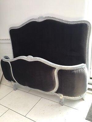 ANTIQUE FRENCH DOUBLE CORBEILLE BED FRAME GREY VELVET. OLD VINTAGE bed