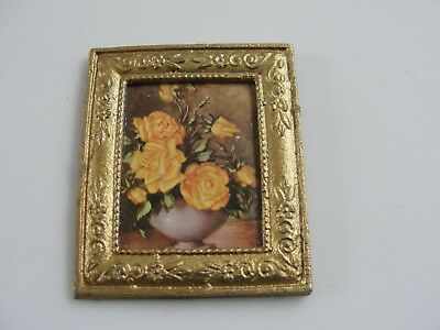 Dollhouse Miniature Gold Framed Floral Print