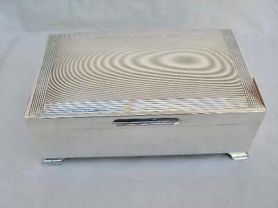 Superb Sterling Silver Art Deco Style Cigarette Box By Goldsmiths 1974