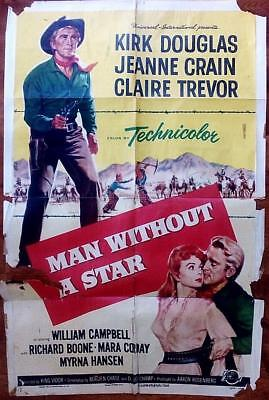 Kirk Douglas Man Without A Star And A One Sheet Without A Pulse Western
