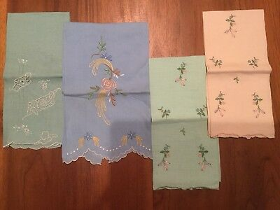 4 Antique Embroidered Cutwork Napkins, Scalloped Edges, Blue Green Peach