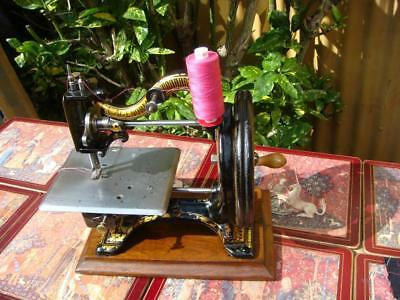 Antique Vintage Old Victorian The Agenoria Hand Crank Sewing  Machine  See Video