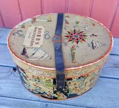 Vintage Topper Hat Box Dobbs 5th Ave NY Antique leather strap NOR' WESTER LOEFF