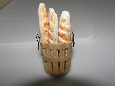 Dollhouse Miniature Wood Basket filled with French Breads