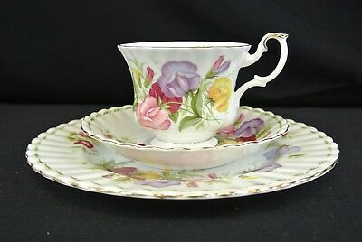 Royal Albert Flower of the Month Series April Teacup Trio Sweet Pea