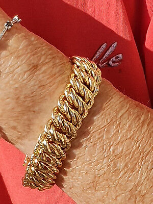 Important Bracelet Gourmette  Maille Americaine Or  18  K / 750 //
