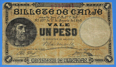 1895 Spanish Colonial Puerto Rico Un (1) Peso Banknote With Embossment • Vg