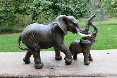 Elephant Figurine Mom and Son African Jungle Animals Resin Statue New 5x7 in.