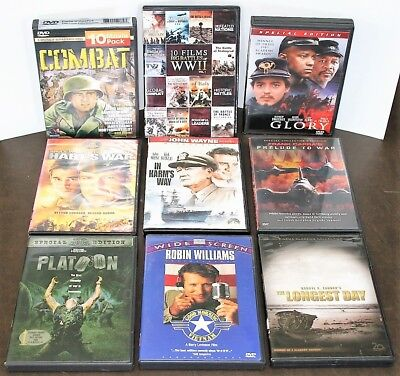 LOT OF 9 DVDs - CIVIL WAR - WORLD WAR II - VIETNAM - ALL ARE PRE-OWNED - USED