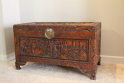 Large Hand Carved Camphor Wood Chest