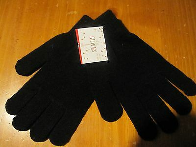 NWT Stretchy Knitted Winter Warm Gloves BLACK