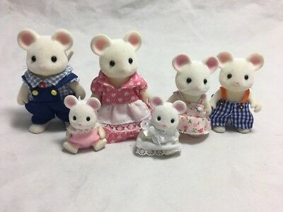 Calico Critters Sylvanian Families Hawthorne Milky White Mice Family Lot Baby