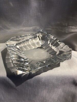 Val St Lambert Signed  Glass Ashtray Excellent Condition