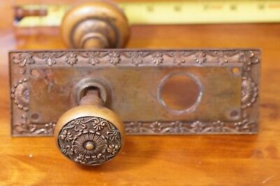 Antique Beautiful Ornate Bronze Victorian Door Knobs With A Back Plate