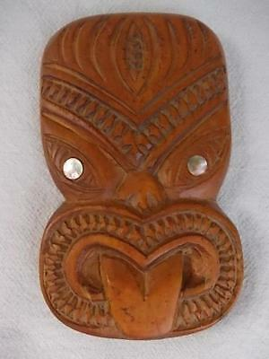 753 / Vintage Carved Wooden New Zealand Maori Tiki God Wall Hanging Face Mask
