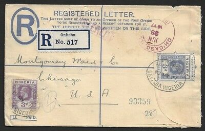 Nigeria KGV 3d registered envelope uprated 3d used 1927 ONITSHA to USA