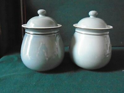 Two Denby Regengy Green Storage jars