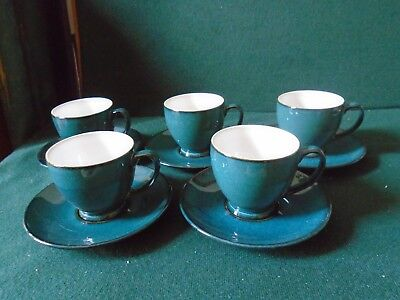 Five Denby Greenwich small espresso cups and saucers ( unused )