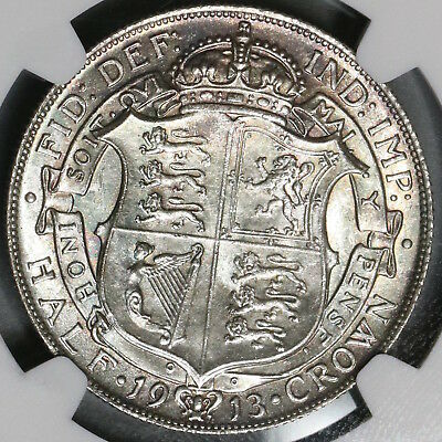 1913 NGC MS 64 1/2 Crown George V Great Britain Silver Coin (18091610C)