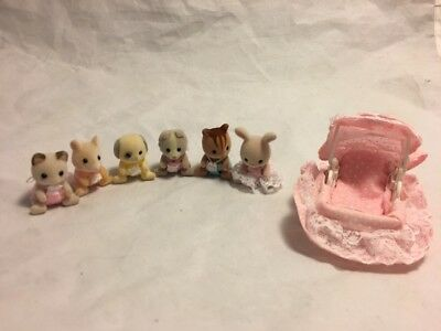 Calico Critters Sylvanian Families Baby Lot Of 6 With Bassinet EUC