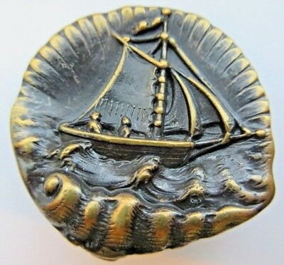 Remarkable X LARGE Antique~ Vtg Metal Picture BUTTON Sailboat in Seashell (Z25)
