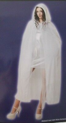 WHITE CLOAK Adult Halloween Costume Womens Ankle Length Ethereal Hooded Cape NWT