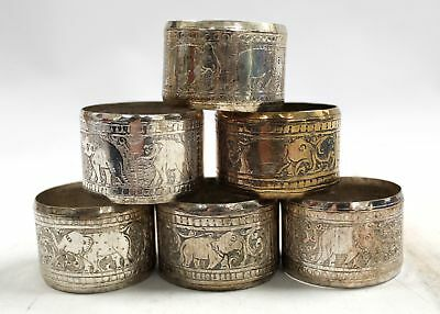 Set Of 6x, Vintage Silver Plated NAPKIN RINGS, With Elephant Etchings - L26